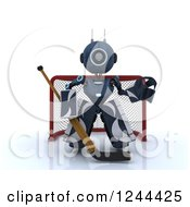 Clipart Of A 3d Blue Android Robot Hockey Goalie 2 Royalty Free Illustration