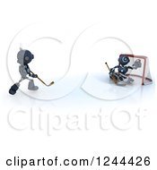 Clipart Of 3d Blue Android Robots Playing Hockey 2 Royalty Free Illustration