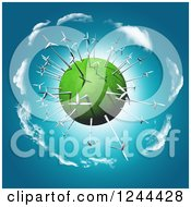 Clipart Of A 3d Wind Turbine Globe Royalty Free Illustration by KJ Pargeter