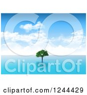 Clipart Of A 3d Lone Tree In The Sea Royalty Free Illustration