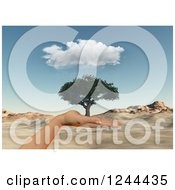 Clipart Of A 3d Hand Holding A Tree Over A Desert Landscape Royalty Free Illustration by KJ Pargeter