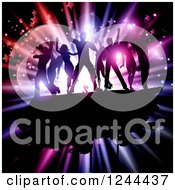 Clipart Of A Silhouetted Dancing Crowd Over A Colorful Burst With Flares And Stars Royalty Free Vector Illustration