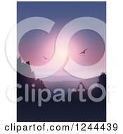 Clipart Of Birds Flying Over Forested Mountains And A Lake At Sunset Royalty Free Vector Illustration