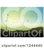 Clipart Of Birds Flying Over A Hilly Landscape With Wind Turbines Royalty Free Vector Illustration