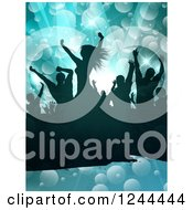 Clipart Of A Silhouetted Dancing Crowd Over Flares On Blue Royalty Free Vector Illustration