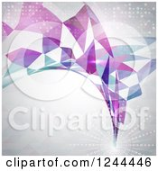 Clipart Of A Geometric Swoosh And Flare On Gray Royalty Free Vector Illustration