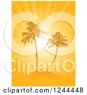 Clipart Of An Orange Sunburst And Palm Trees On An Island Royalty Free Vector Illustration