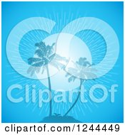 Clipart Of A Blue Sunburst And Palm Trees On An Island Royalty Free Vector Illustration