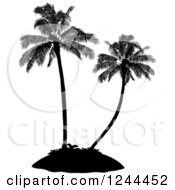 Clipart Of Black Silhouetted Palm Trees On An Island Royalty Free Vector Illustration