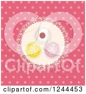 Clipart Of An Aerial View Of Cupcakes On A Doily Over Distressed Pink Polka Dots Royalty Free Vector Illustration
