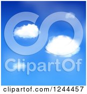 Clipart Of A Background Of Blue Sky And Puffy White Clouds Royalty Free Vector Illustration