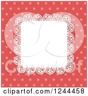 Square Lace Doily Over Red Polka Dots