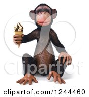 Clipart Of A 3d Chimp Monkey Sitting And Holding An Ice Cream Cone Royalty Free Illustration