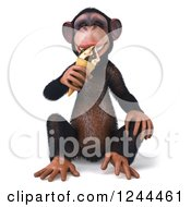 Clipart Of A 3d Chimp Monkey Sitting And Eating An Ice Cream Cone Royalty Free Illustration