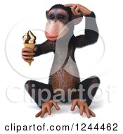 Clipart Of A 3d Chimp Monkey Sitting Thinking And Holding An Ice Cream Cone Royalty Free Illustration