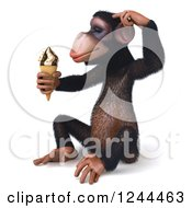 Clipart Of A 3d Chimp Monkey Sitting Thinking And Holding An Ice Cream Cone 2 Royalty Free Illustration