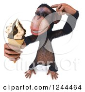 Clipart Of A 3d Chimp Monkey Thinking And Holding An Ice Cream Cone Royalty Free Illustration