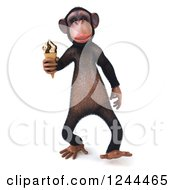 Clipart Of A 3d Chimp Monkey Walking With An Ice Cream Cone Royalty Free Illustration