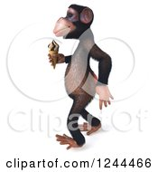 Clipart Of A 3d Chimp Monkey Walking With An Ice Cream Cone 2 Royalty Free Illustration