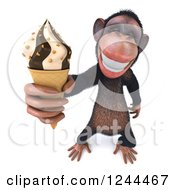 Clipart Of A 3d Chimp Monkey Holding Up An Ice Cream Cone Royalty Free Illustration
