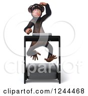 Clipart Of A 3d Bespectacled Chimp Monkey Thinking And Running On A Treadmill Royalty Free Illustration