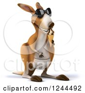 Clipart Of A 3d Kangaroo Wearing Sunglasses And Eating An Ice Cream Cone Royalty Free Illustration