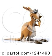 Clipart Of A 3d Kangaroo Wearing Sunglasses And Eating An Ice Cream Cone 2 Royalty Free Illustration