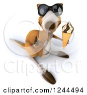 Clipart Of A 3d Kangaroo Wearing Sunglasses Holding A Thumb Up And Eating An Ice Cream Cone Royalty Free Illustration