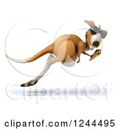 Clipart Of A 3d Kangaroo Wearing Sunglasses Hopping And Eating An Ice Cream Cone 2 Royalty Free Illustration