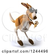 Clipart Of A 3d Kangaroo Wearing Sunglasses Hopping And Eating An Ice Cream Cone Royalty Free Illustration