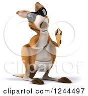 Clipart Of A 3d Kangaroo Wearing Sunglasses And Pointing To An Ice Cream Cone Royalty Free Illustration