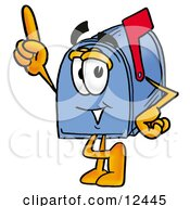 Blue Postal Mailbox Cartoon Character Pointing Upwards