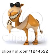Clipart Of A 3d Camel Wearing Sunglasses And Holding An Ice Cream Cone Royalty Free Illustration