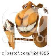 Clipart Of A 3d Camel Holding An Ice Cream Cone Around A Sign Royalty Free Illustration