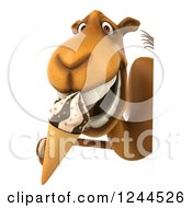 Clipart Of A 3d Camel Eating An Ice Cream Cone Around A Sign Royalty Free Illustration