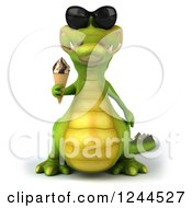 Clipart Of A 3d Crocodile Wearing Sunglasses And Holding An Ice Cream Cone Royalty Free Illustration