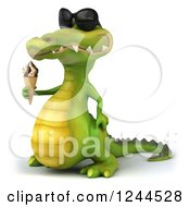 Clipart Of A 3d Crocodile Wearing Sunglasses And Holding An Ice Cream Cone 2 Royalty Free Illustration