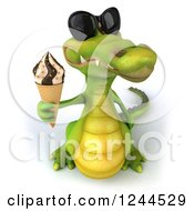 Clipart Of A 3d Crocodile Wearing Sunglasses And Holding Up An Ice Cream Cone Royalty Free Illustration by Julos