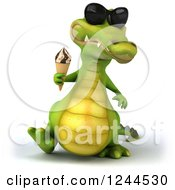 Clipart Of A 3d Crocodile Wearing Sunglasses And Walking With An Ice Cream Cone Royalty Free Illustration