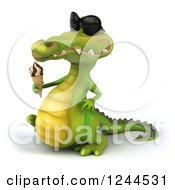 Clipart Of A 3d Crocodile Wearing Sunglasses And Walking With An Ice Cream Cone 2 Royalty Free Illustration