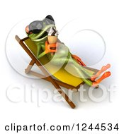 Clipart Of A 3d Green Springer Frog Wearing Sunglasses And Eating Ice Cream In A Poolside Chair Royalty Free Vector Illustration