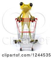 Clipart Of A 3d Green Ribbit Frog Pushing A Shopping Cart Royalty Free Illustration