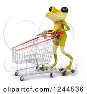 Clipart Of A 3d Green Ribbit Frog Pushing A Shopping Cart 2 Royalty Free Illustration