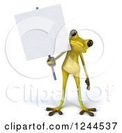 Clipart Of A 3d Green Ribbit Frog Holding A Blank Sign Royalty Free Illustration