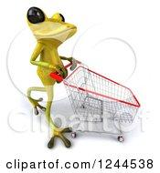 Clipart Of A 3d Green Ribbit Frog Pushing A Shopping Cart 3 Royalty Free Illustration