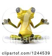 Clipart Of A 3d Green Ribbit Frog Meditating Royalty Free Illustration