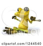 Clipart Of A 3d Green Ribbit Frog Meditating 2 Royalty Free Illustration
