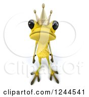 Clipart Of A 3d Sad Green Ribbit Frog Prince Royalty Free Illustration