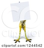 Clipart Of A 3d Green Ribbit Frog Standing Behind And Holding A Blank Sign Royalty Free Illustration