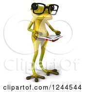 Clipart Of A 3d Bespectacled Green Ribbit Frog Reading A Book Royalty Free Illustration by Julos